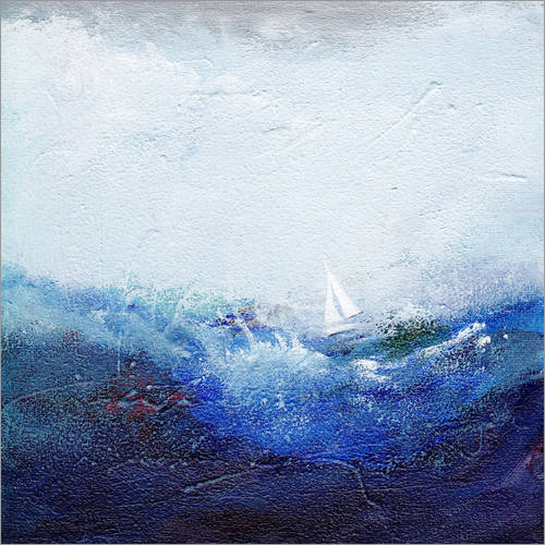 Vinilo para la pared Boat on the waves