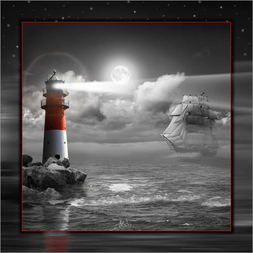 Vinilo para la pared Lighthouse and Sailboat in the Moonlight