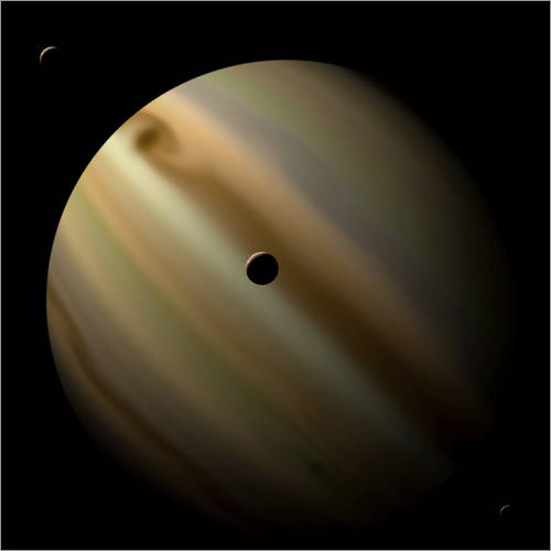 Vinilo para la pared Artist's depiction of a gas giant planet in interstellar space with three orbiting moons.