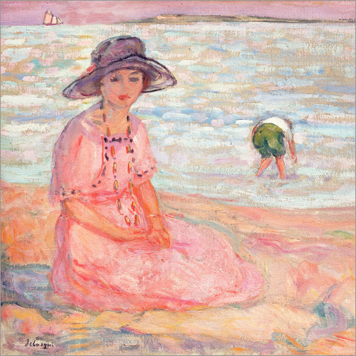 Vinilo para la pared Woman in the Pink Dress by the Sea
