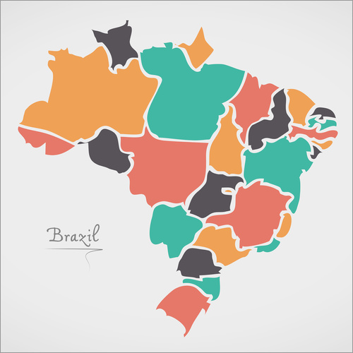 Vinilo para la pared Brazil map modern abstract with round shapes