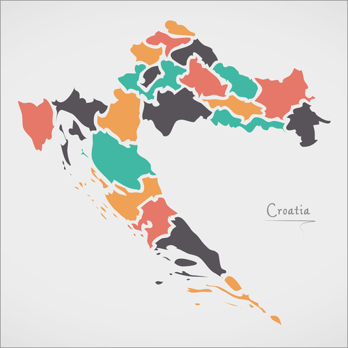 Vinilo para la pared Croatia map modern abstract with round shapes