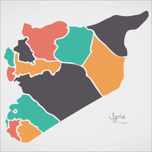 Vinilo para la pared Syria map modern abstract with round shapes