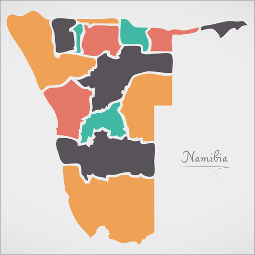 Vinilo para la pared Namibia map modern abstract with round shapes