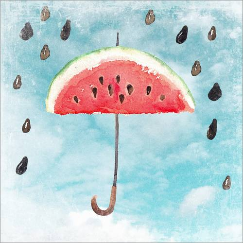 Vinilo para la pared Summery fruity melon rain