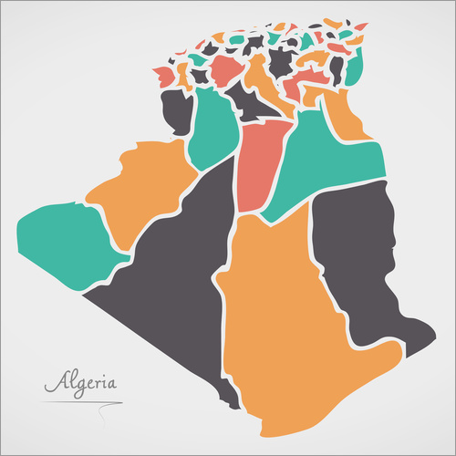 Vinilo para la pared Algeria map modern abstract with round shapes