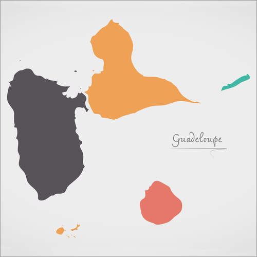 Vinilo para la pared Guadeloupe map modern abstract with round shapes