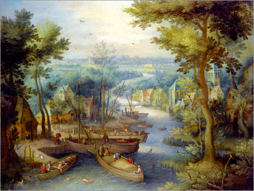 Póster River landscape with bathing and boats