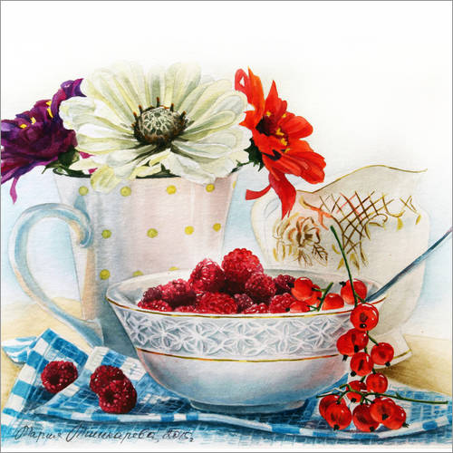Vinilo para la pared Flowers and berries watercolor painting