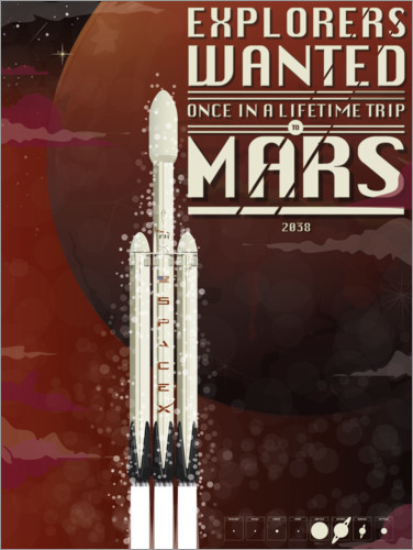Póster Cohete Spacex Mars