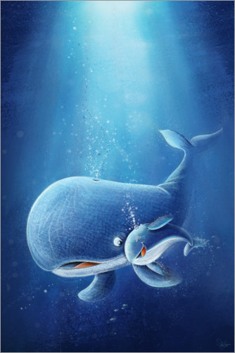Póster Sweet whale with baby