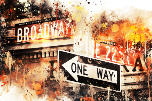 Póster NYC Broadway One Way