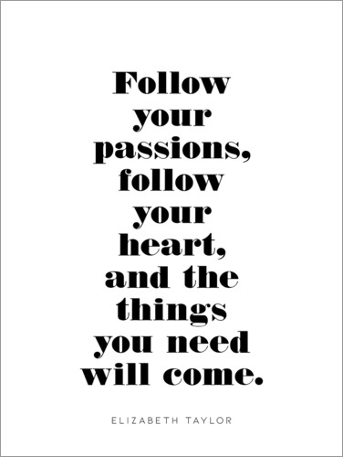 Póster Follow your passions