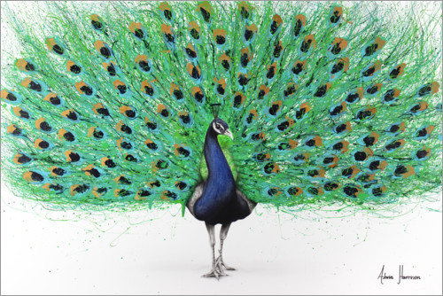 Póster Orgulloso pavo real