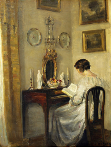 Póster Mujer, lectura, un, spinet