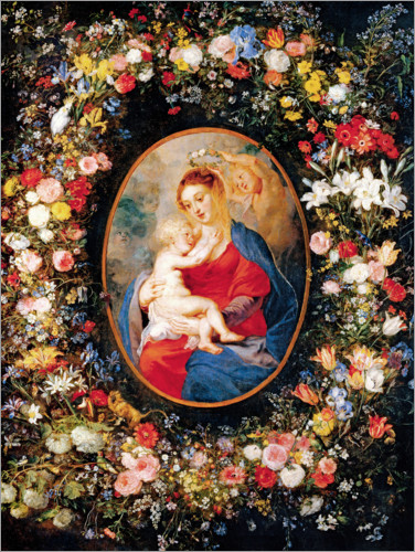 Póster Madonna in the floral wreath