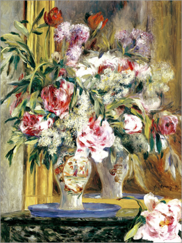 Póster Vase of flowers in front of the mirror