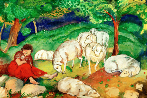 Póster Shepherdess with sheep