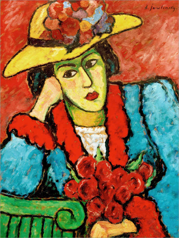 Póster Lady with yellow straw hat