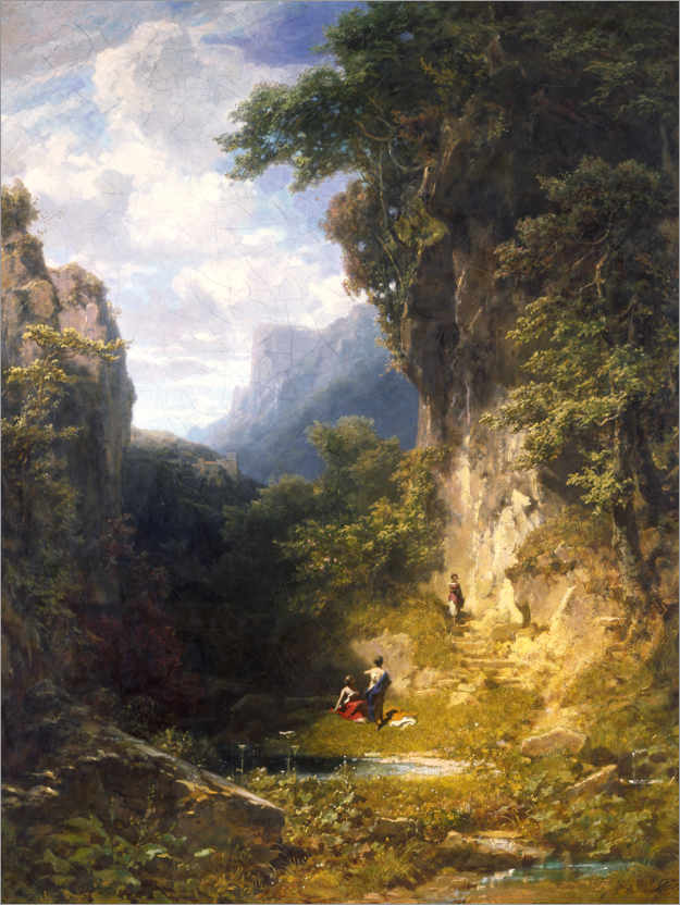 Póster Mountain gorge with bathing women