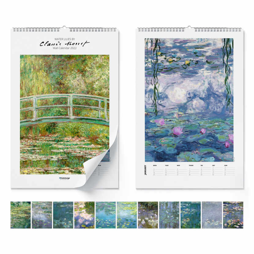 Calendario de pared Claude Monet, Water Lilies 2021