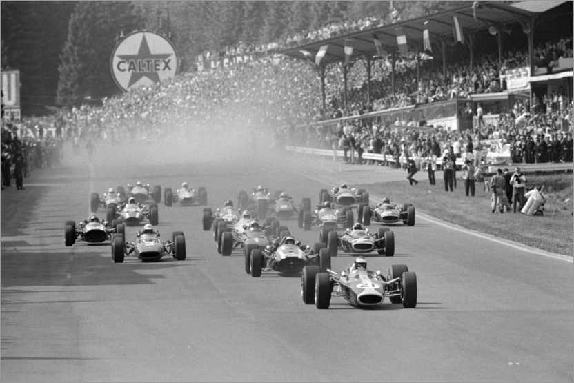 Póster Jim Clark leads the field at the start, Belgian GP 1967
