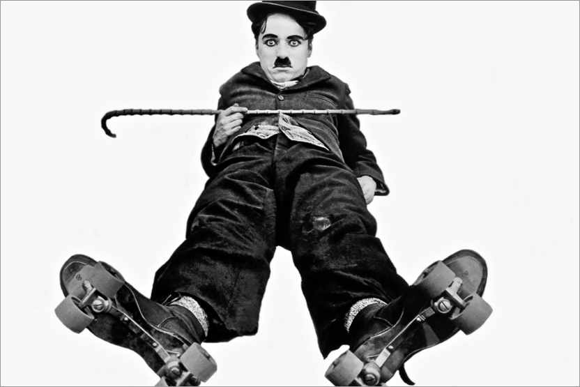 Póster Charlie Chaplin con patines