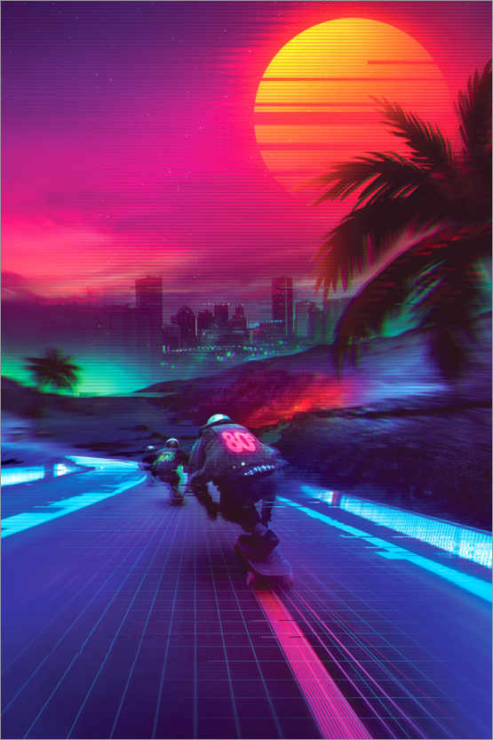 Póster Synthwave Midnight Outrun