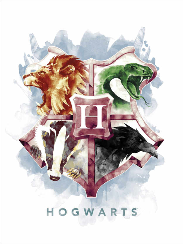 Póster Gryffindor, Hufflepuff, Slytherin and Ravenclaw