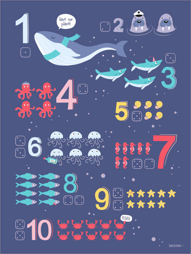 Póster Counting numbers with marine animals