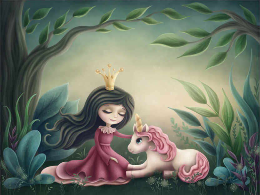 Póster Princess with unicorn in the magic forest