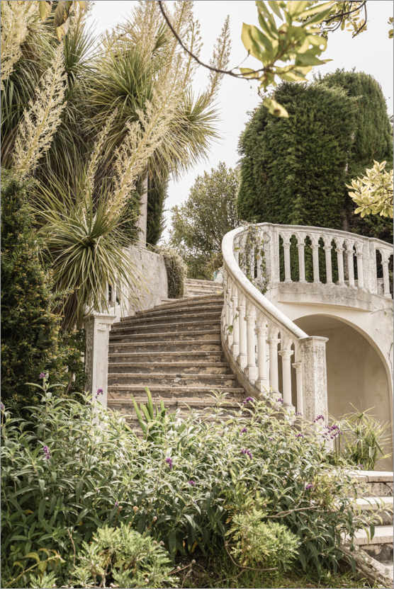 Póster French Vintage Garden Steps In The South Of France