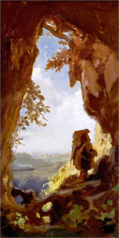 Póster Gnome, looking at the first railway out of a cave