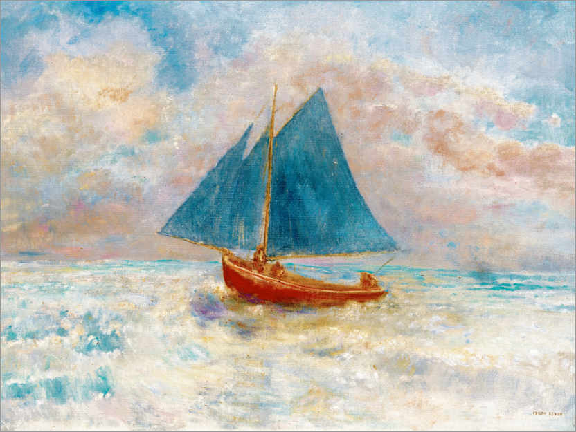 Póster Red boat with blue sails