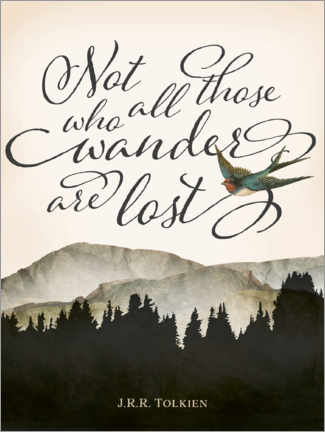 Póster  Not all those who wander are lost, Tolkien - Amelia Gier