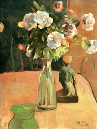 Cuadro de metacrilato  Roses and Statuette - Paul Gauguin