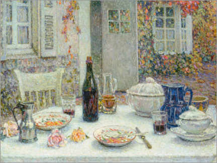 Cuadro de PVC  The set table in front of the house - Henri Le Sidaner