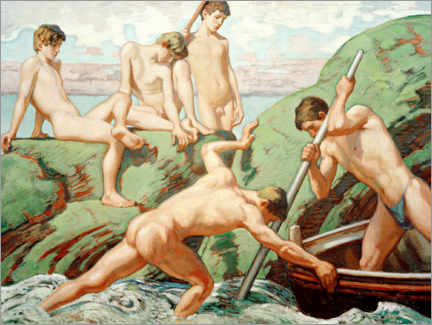 Vinilo para la pared  Naked Schiffer and boys on the green shores - Ludwig von Hofmann