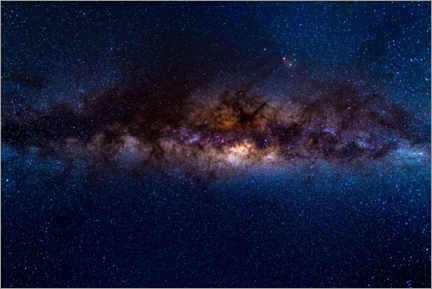 Póster The Milky Way galaxy, details of the colorful core.