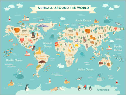 Póster  Mapa de mundo de animales (inglés) - Kidz Collection