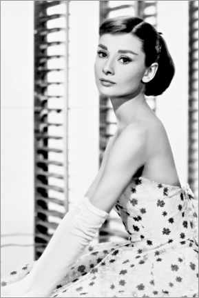 Lienzo  Audrey Hepburn en vestido de flores - Celebrity Collection