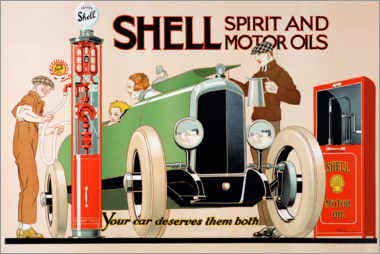 Póster Shell, alcohol y aceites de motor
