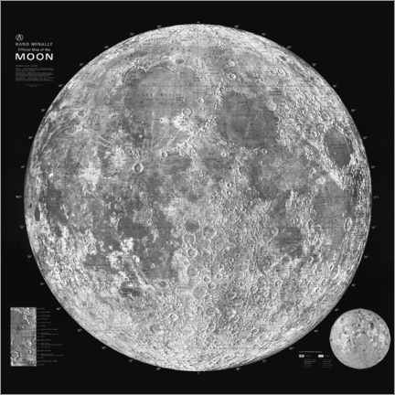 Póster  Mapa lunar, blanco y negro - Art Couture