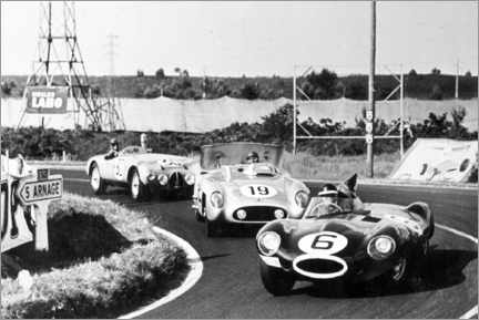 Póster Fangio, Moss and Hawthorn at the Le Mans 24-hour race 1955