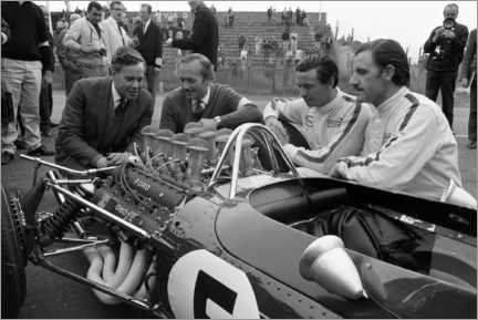 Póster  Keith Duckworth, Colin Chapman, Jim Clark and Graham Hill, Lotus 49 Ford 1967
