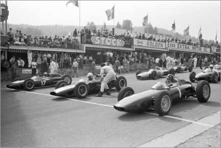 Póster  Graham Hill, Bruce McLaren and Trevor Taylor on the starting grid, 1962