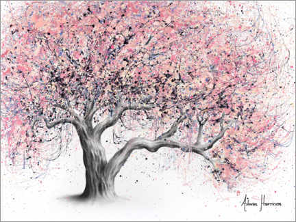 Cuadro de metacrilato  Árbol de flor color chicle - Ashvin Harrison