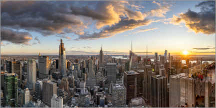 Cuadro de metacrilato  Skyline de Manhattan al atardecer - Jan Christopher Becke