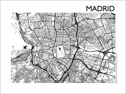 Póster  Mapa de la ciudad de Madrid - 44spaces