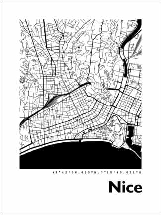 Cuadro de metacrilato  Mapa de Niza - 44spaces